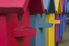 Many colorful houses for bird Stock Photos