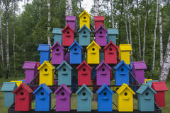 Many colorful houses for bird 1 Stock Photo