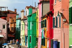 Many colorful houses on the island of BURANO near Venice Royalty Free Stock Image