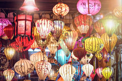Many Colorful Lanterns. Many differently colored lanterns glowing in the dark Royalty Free Stock Image