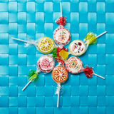 Many colorful lollipops in a circle Royalty Free Stock Images