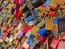 Many colorful love locks, selective focus,full frame Stock Photo
