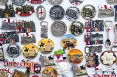 Many colorful magnets from Georgia stock photography