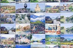 Many colorful magnets from Georgia stock photo