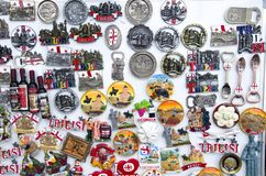 Many colorful magnets from Georgia royalty free stock photo