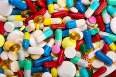 Many colorful medicines Stock Images