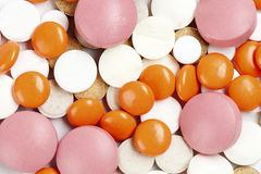Many colorful medicines. Background or texture Stock Image