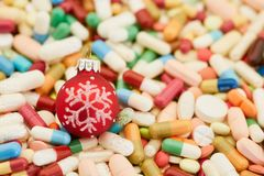 Many colorful medicines for Christmas stock photo