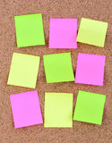 Many colorful notes on cork Royalty Free Stock Photography