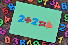 Many colorful numbers with paper on table Stock Photo