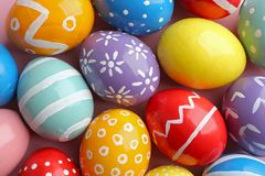 Many colorful painted Easter eggs as background. Top view royalty free stock images