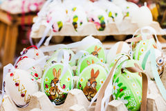 Many Colorful painted Easter eggs at traditional Royalty Free Stock Photos