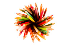 Many colorful pencils. Over white background Stock Image