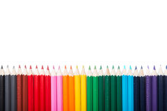 Many colorful pencils in a row nicely Royalty Free Stock Photo