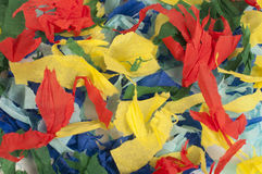 Many colorful pieces of torn paper Stock Photos
