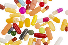 Many colorful pills Stock Photography
