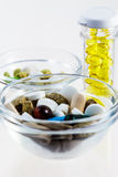 Many colorful pills in glass bowls and bottle Stock Images