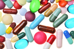 Many colorful pills Stock Image