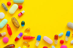 Many colorful pills isolated Stock Image