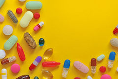 Many colorful pills isolated Royalty Free Stock Photo