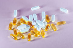 Many colorful pills and medicines Royalty Free Stock Photo