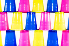 Many colorful plastic cups royalty free stock photos
