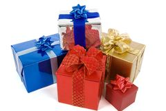 Many colorful presents. Many varicolored gifts isolated on white Stock Photos