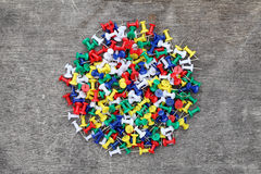 Many colorful push pins Royalty Free Stock Photos