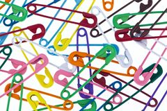 Many colorful safety pin Royalty Free Stock Photography