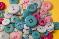Many colorful sewing buttons texture background Royalty Free Stock Images