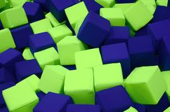 Many colorful soft blocks in a kids& x27; ballpit at a playground Royalty Free Stock Images