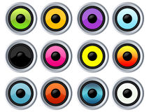 Many colorful speakers. On white background Royalty Free Stock Photo