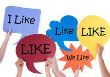 Many Colorful Speech Balloons With Like stock images