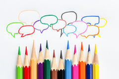 Many colorful speech bubble from color pencil on white paper Royalty Free Stock Photos