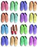 Many colorful sporty sneaker shoes with an elegant high heels on white background. Be different concept odd one out royalty free stock image