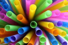 Many colorful straws as sign for heterogeneity or teamwork. Royalty Free Stock Photos