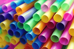 Many colorful straws as sign for heterogeneity or teamwork. Stock Photography