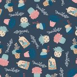 Succulents vector seamless pattern Stock Images