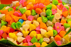 Many colorful sweets, candles. Aalaw candy, colorful Thai dessert with sugar crust and soft chewy inside made from flour,selective focus Royalty Free Stock Photo
