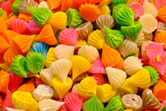 Many colorful sweets, candles. Aalaw candy, colorful Thai dessert with sugar crust and soft chewy inside made from flour,selective focus Royalty Free Stock Photos