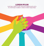 Many Colorful Teamwork People Hands Background Stock Images