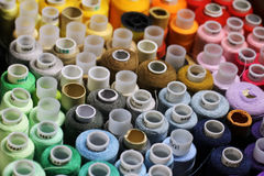 Many colorful threads. View from above royalty free stock photography