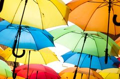 Many colorful umbrellas against the sky in city settings. Kosice, Slovakia Royalty Free Stock Images