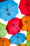 Many colorful umbrellas against the sky in city settings. Kosice, Slovakia Stock Photography