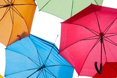 Many colorful umbrellas against the sky in city settings. Kosice, Slovakia Stock Image