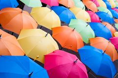Many colorful umbrellas in city settings. Kosice, Slovakia Stock Images