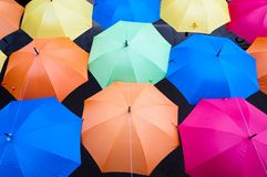 Many colorful umbrellas in city settings. Kosice, Slovakia Royalty Free Stock Images