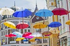 Many colorful umbrellas Stock Photos
