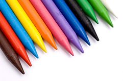 Many colorful wax crayons Royalty Free Stock Image