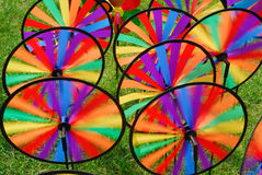 Many colorful windmill toys in the garden Royalty Free Stock Photography